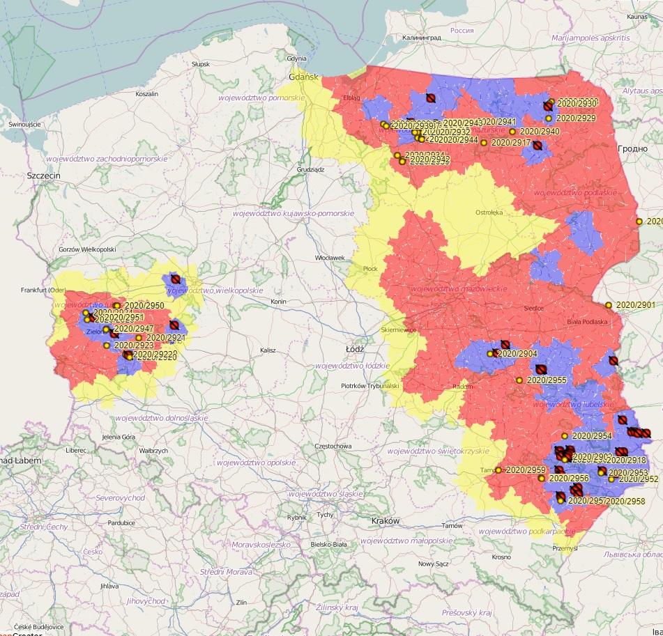 ASF mapa