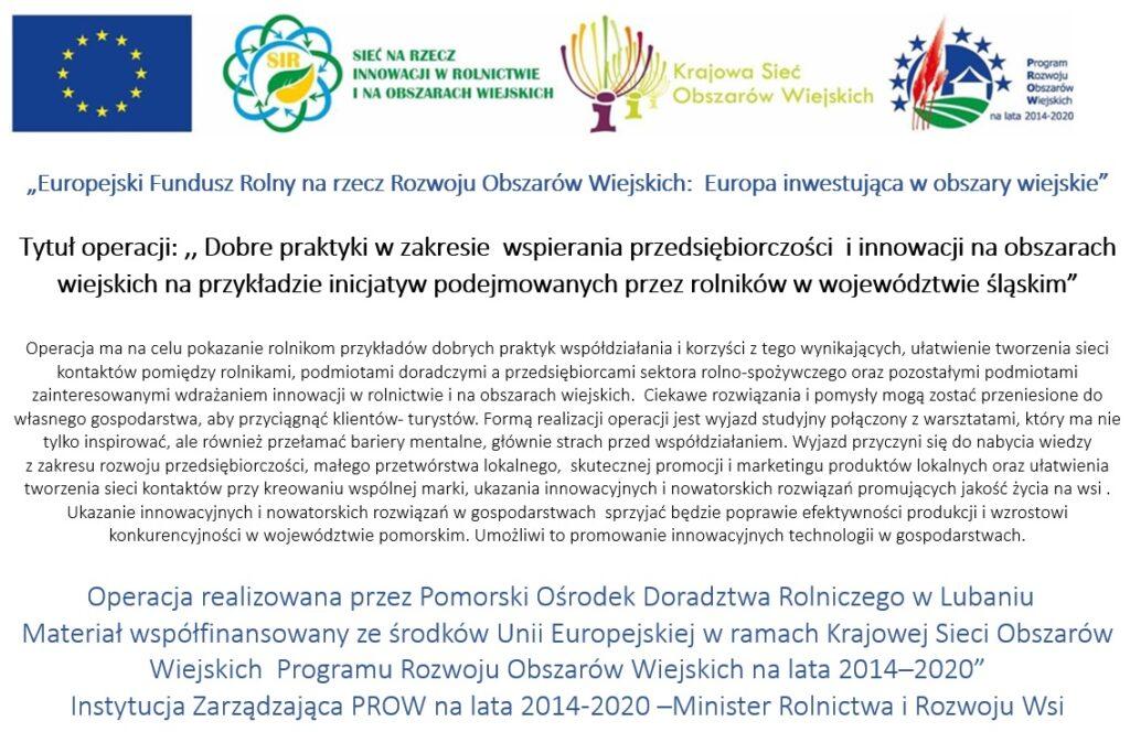 Dobre praktyki w zakresie wspierania przedsiębiorczości i innowacji na obszarach wiejskich na przykładzie inicjatyw podejmowanych przez rolników w województwie śląskim