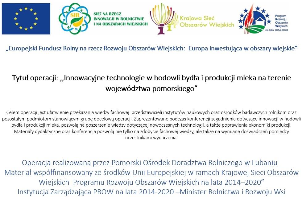Innowacyjne technologie w hodowli bydła i produkcji mleka na terenie województwa pomorskiego - plakat