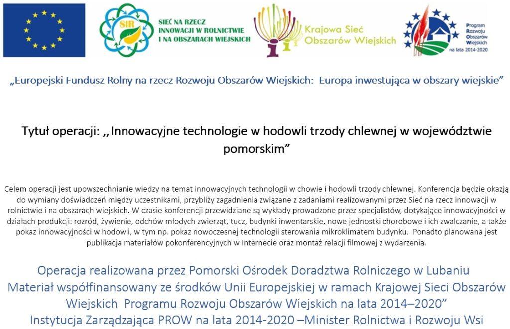 Innowacyjne technologie w hodowli trzody chlewnej w województwie pomorskim - plakat
