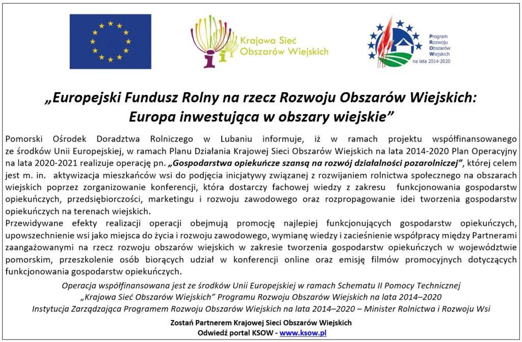 KSOW - Gospodarstwa opiekuńcze szansą na rozwój działalności pozarolniczej