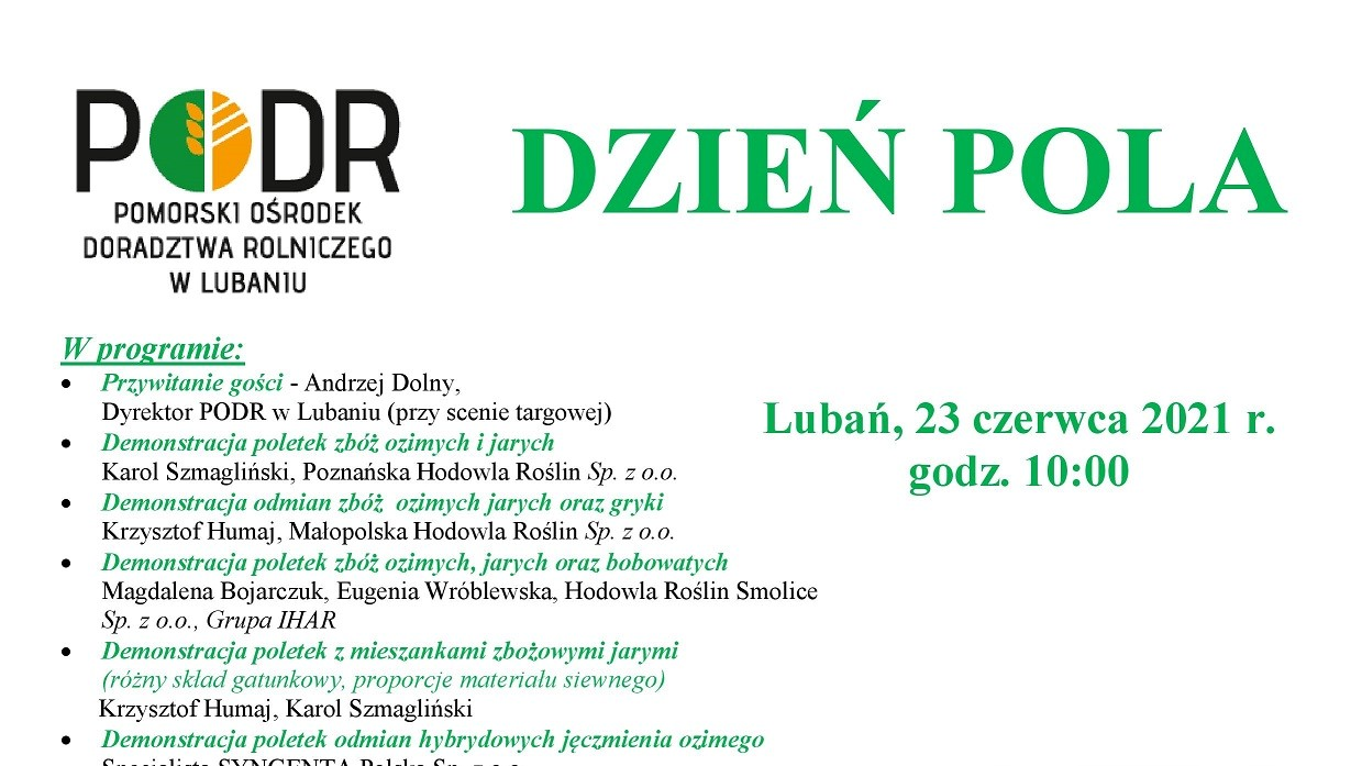 Plakat Dzień Pola Lubań 2021-miniatura