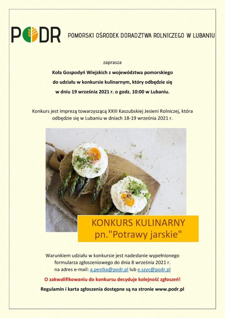Konkurs kulinarny potrawy jarskie - plakat