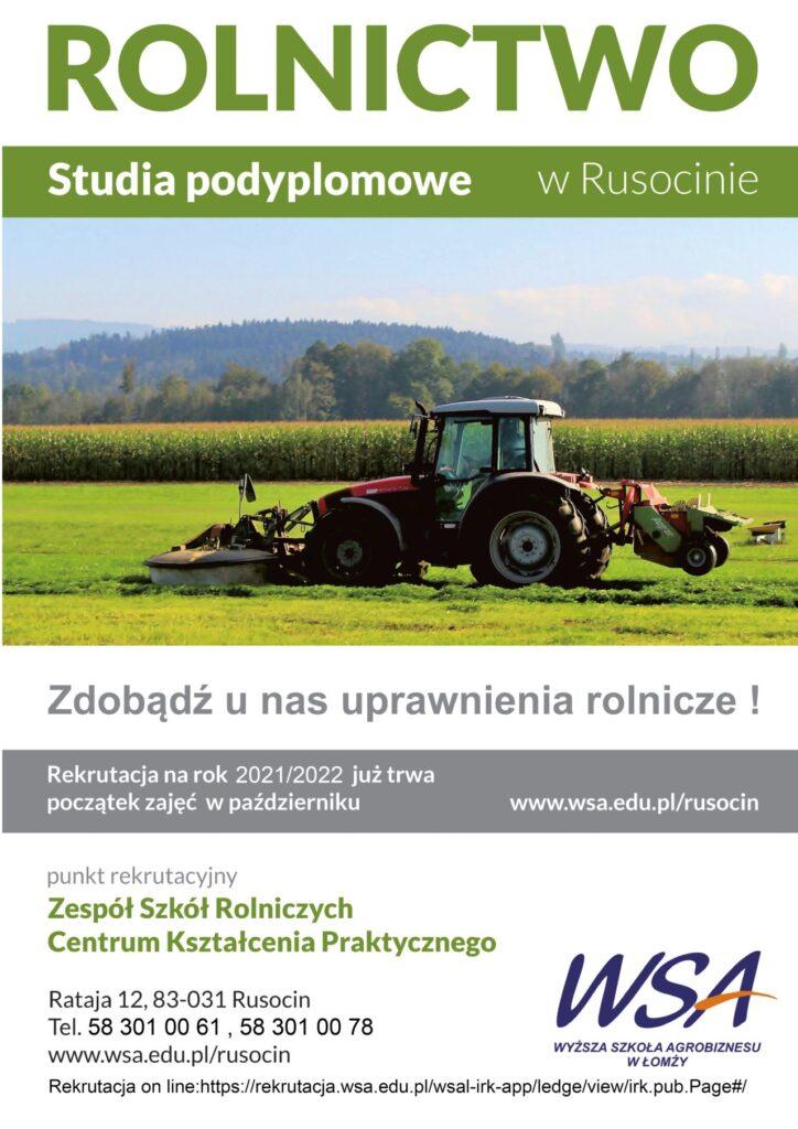 Studia Podyplomowe z Rolnictwa w Rusocinie