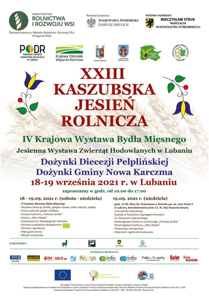 2021 Plakat - XXIII Kaszubska Jesień Rolnicza, Dożynki 18-19.09.2021