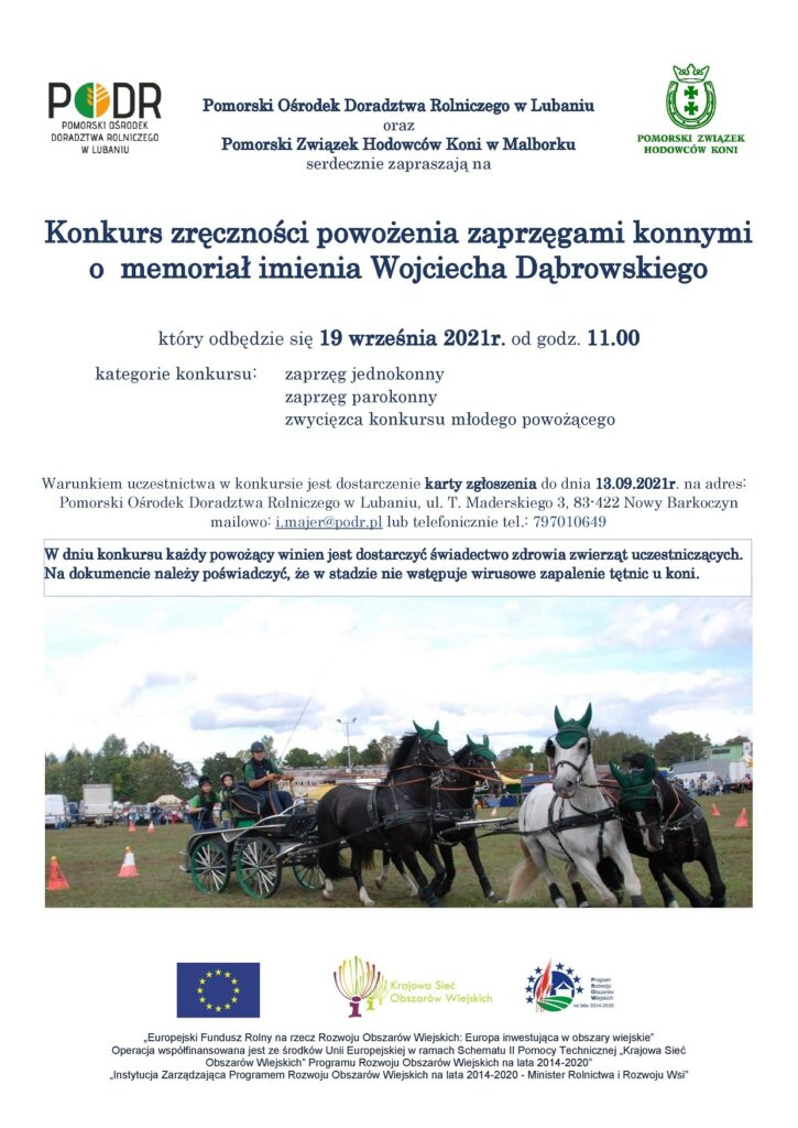 Konkurs zręczności powożenia zaprzęgami konnymi o memoriał imienia Wojciecha Dąbrowskiego - plakat