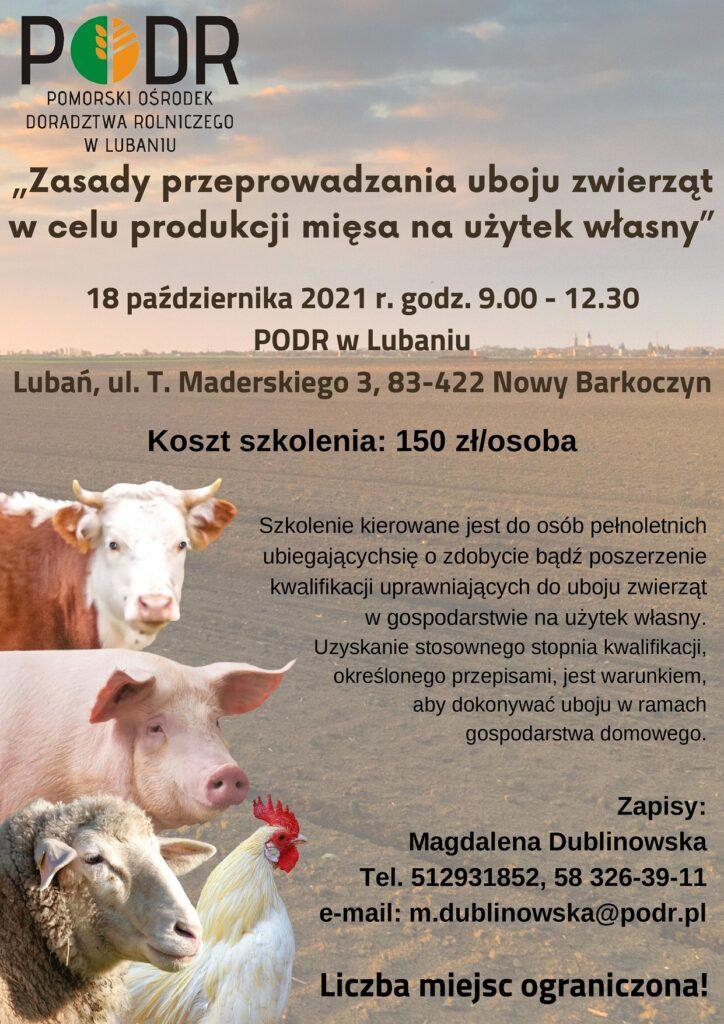 Zasady przeprowadzania uboju zwierząt w celu produkcji mięsa na użytek własny - plakat