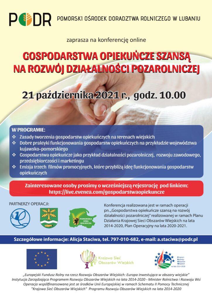 Gospodarstwa opiekuńcze szansą na rozwój działalności pozarolniczej - plakat